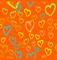 orange hearts seamless tile valentines day vector image