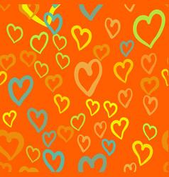 Orange hearts seamless tile valentines day vector