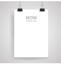 Poster clothespins on a white sheet for your vector