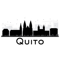 Quito City skyline black and white silhouette vector image