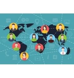 Social media network connection concept map vector