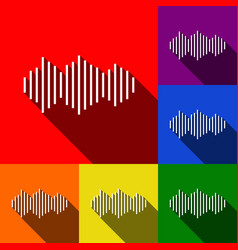 Sound waves icon set of icons with flat vector