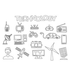 Technology elements hand drawn set vector