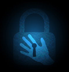technology security hand lock binary vector image vector image