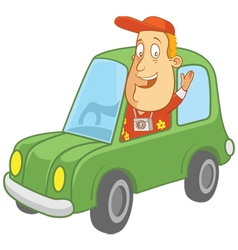 tourist driving car vector image