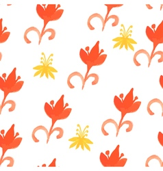 Tribal red seamless pattern with trees Seamless vector image vector image