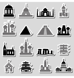 World religions types of temples stickers eps10 vector