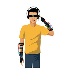 Young man using vr virtual reality glasses headset vector