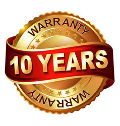10 years warranty golden label with ribbon vector