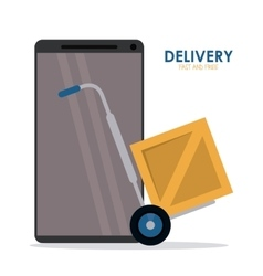Smartphone package and cart icon delivery and vector