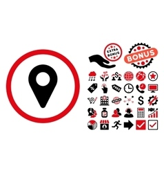 Map marker flat icon with bonus vector