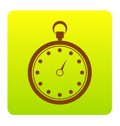Stopwatch sign   brown icon at vector