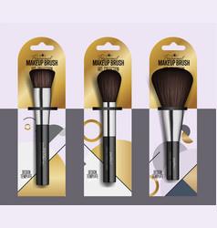 Realistic professional makeup artist brush set vector