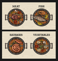 Barbecue grill top view charcoal vegetables vector