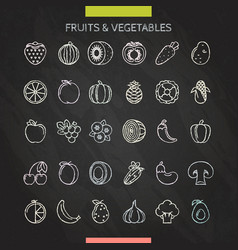 Fruits and vegetables chalk icons vector