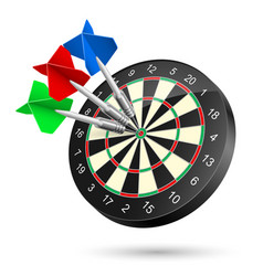 Dartboard with darts hitting a target on white vector