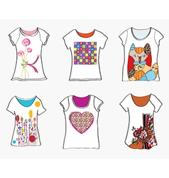 T-shirts design templates with funny paintings vector