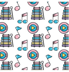Music elements to play melody background vector