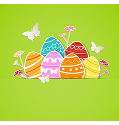 green Easter background with eggs vector image