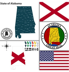 Map of alabama with seal vector