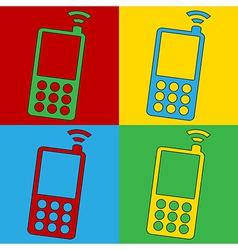 Pop art phone icons vector