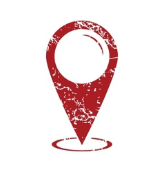 Red grunge map marker logo vector