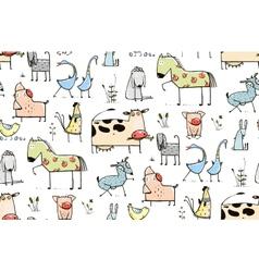 Funny Cartoon Village Domestic Animals Seamless vector image