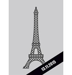 Eiffel Tower black Mourning Ribbon November 13 vector image