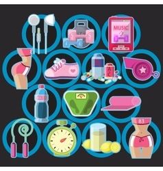 Icons sports items and tools vector