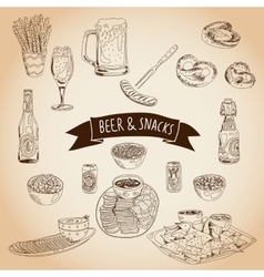 Hand drawn  beer and snacks vector