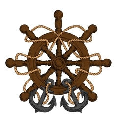 Ships helm with carved handles rope and anchors vector