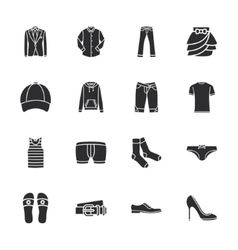 Sixteen modern clothes icons vector