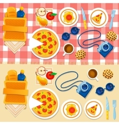 Set picnic on the grass vector