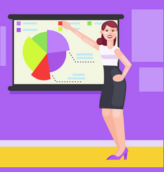 A woman in the office shows charts and diagrams vector