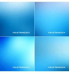 Abstract blue triangle backgrounds set vector