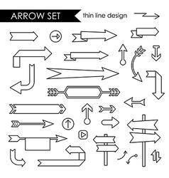 Black thin line arrows set vector image