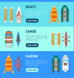 cartoon color boats banner horizontal set vector image vector image