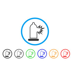 condom damage rounded icon vector image