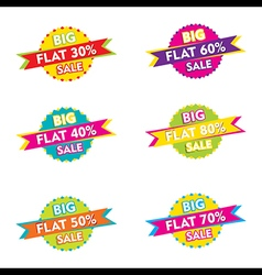 creative flat discount sale label or sticker desig vector image vector image