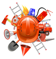 Fire prevention concept with helmet vector