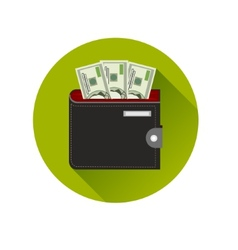 Flat design cash symbol purse with american money vector