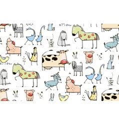 Funny cartoon village domestic animals seamless vector