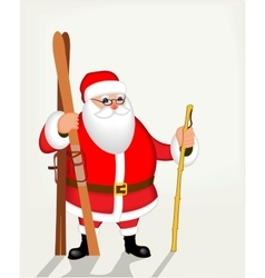 Funny santa claus with skis poster vector
