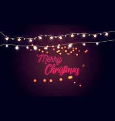 Glowing lights for holidayshandwriting merry chri vector