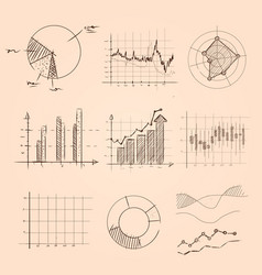 Graphic and chart collection hand drawing sketch vector