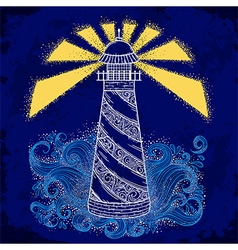 lighthouse with abstract waves vector image vector image