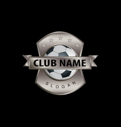metal shield soccer logo black background vector image vector image