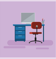 operating manager space desk chair and computer vector image