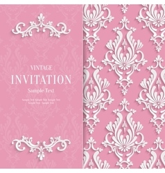 Pink Floral 3d Wedding Invitation vector image