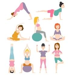 Pregnant woman yoga vector